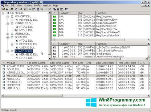 Скриншот программы Dependency Walker для Windows 8