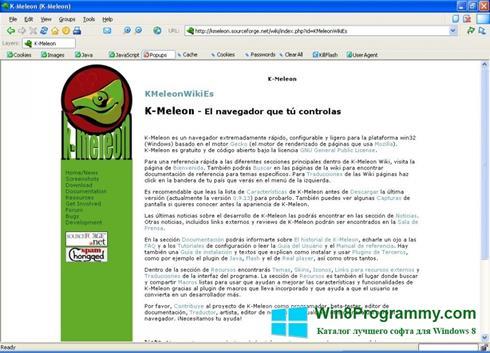 Скриншот программы K-Meleon для Windows 8