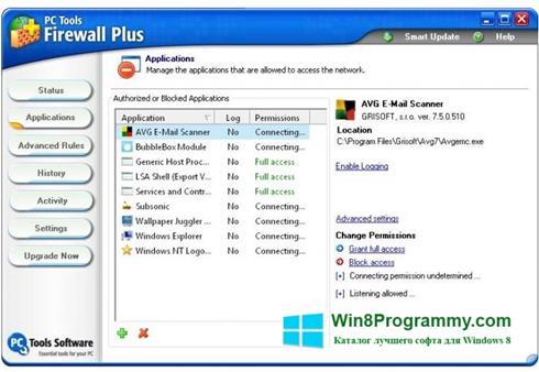 Скриншот программы PC Tools Firewall Plus для Windows 8