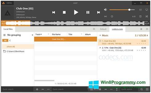Скриншот программы AIMP для Windows 8