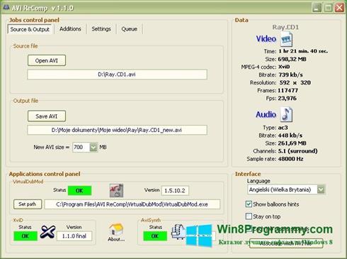 Скриншот программы AVI ReComp для Windows 8