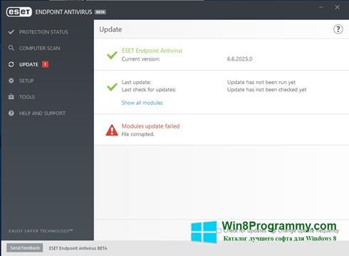 Скриншот программы ESET Endpoint Antivirus для Windows 8
