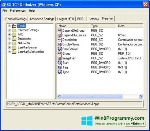 Скриншот программы TCP Optimizer для Windows 8