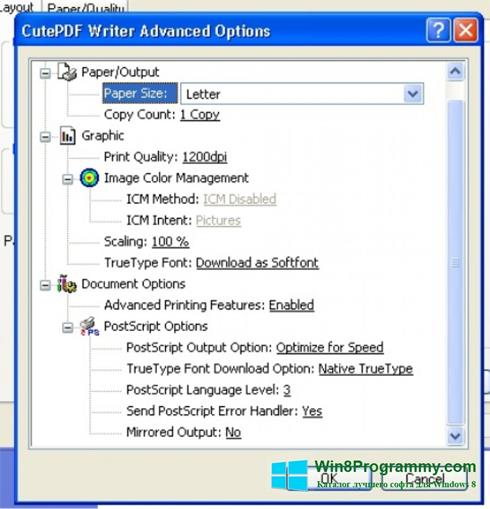 Скриншот программы CutePDF Writer для Windows 8