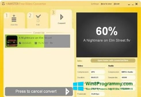 Скриншот программы Hamster Free Video Converter для Windows 8