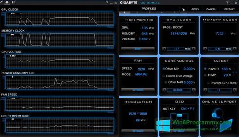 Скриншот программы GIGABYTE OC Guru для Windows 8