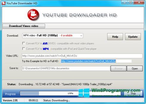 Скриншот программы Youtube Downloader HD для Windows 8