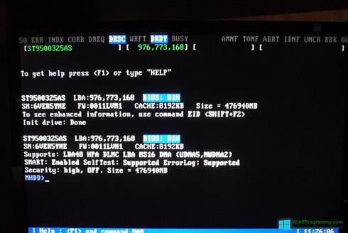 Скриншот программы MHDD для Windows 8