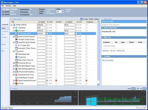 Скриншот программы NetLimiter для Windows 8
