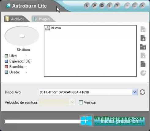 Скриншот программы Astroburn Lite для Windows 8