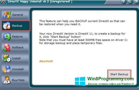 Скриншот программы DirectX Happy Uninstall для Windows 8