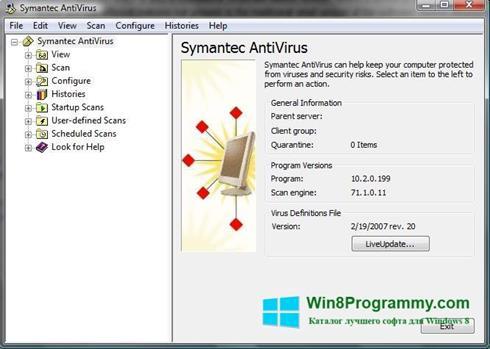 Скриншот программы Symantec Antivirus для Windows 8