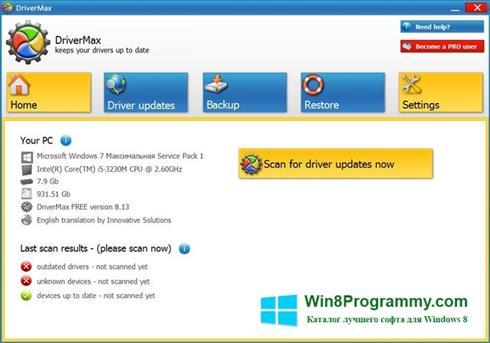 Скриншот программы DriverMax для Windows 8