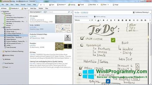 Скриншот программы Evernote для Windows 8
