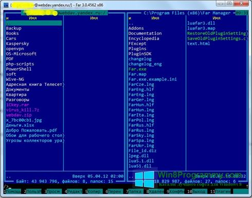 Скриншот программы Far Manager для Windows 8