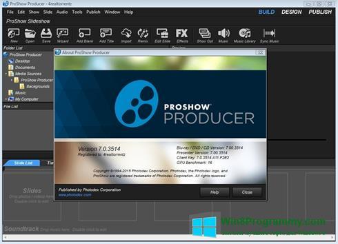 Скриншот программы ProShow Producer для Windows 8