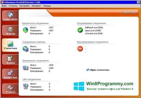Скриншот программы Ashampoo Firewall для Windows 8