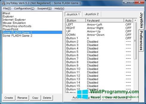 Скриншот программы JoyToKey для Windows 8