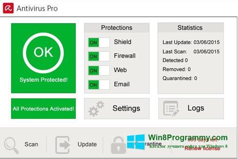 Скриншот программы Avira Antivirus для Windows 8