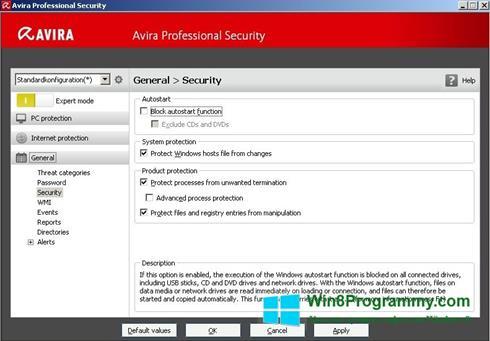 Скриншот программы Avira Professional Security для Windows 8