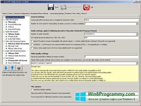 Скриншот программы PS3 Media Server для Windows 8