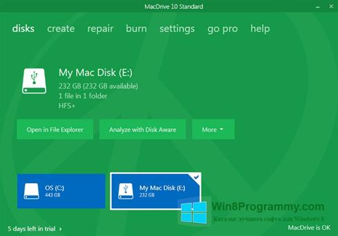 Скриншот программы MacDrive для Windows 8
