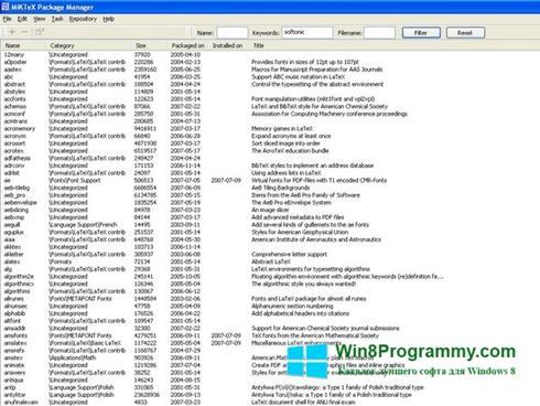 Скриншот программы MiKTeX для Windows 8