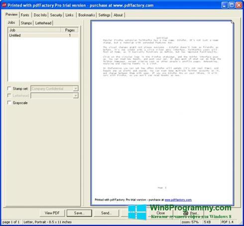 Скриншот программы pdfFactory Pro для Windows 8