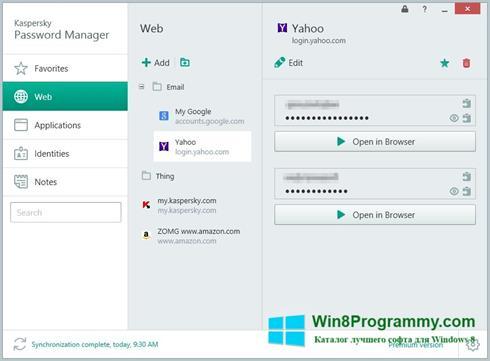 Скриншот программы Kaspersky Password Manager для Windows 8