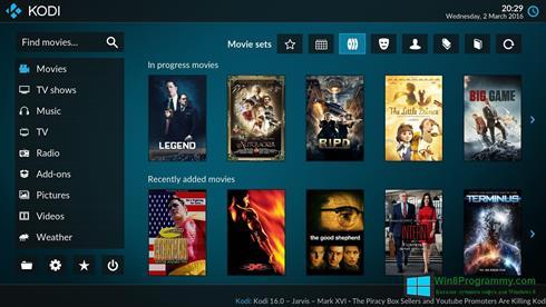 Скриншот программы Kodi для Windows 8