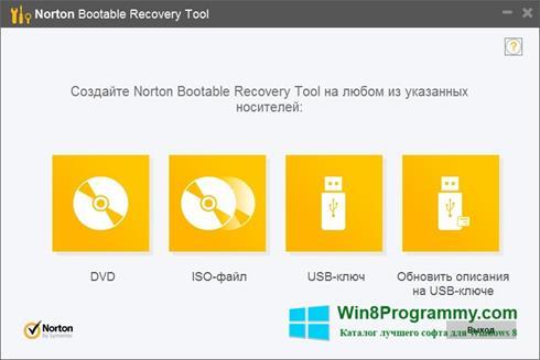 Скриншот программы Norton Bootable Recovery Tool для Windows 8