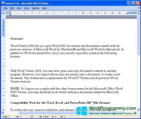 Скриншот программы Word Viewer для Windows 8