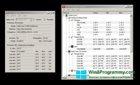 Скриншот программы Core Temp для Windows 8