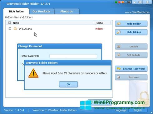 Скриншот программы Hide Folders для Windows 8
