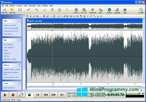 Скриншот программы WavePad Sound Editor для Windows 8