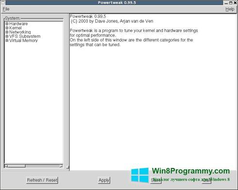 Скриншот программы PowerTweak для Windows 8