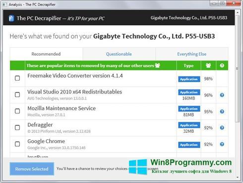 Скриншот программы PC Decrapifier для Windows 8