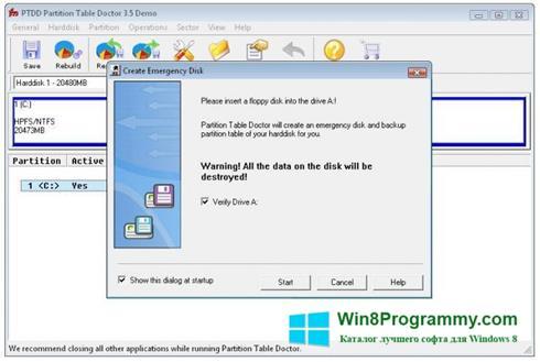 Скриншот программы Partition Table Doctor для Windows 8