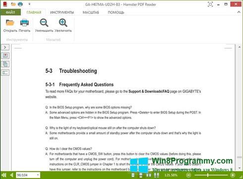 Скриншот программы Hamster PDF Reader для Windows 8