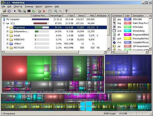Скриншот программы WinDirStat для Windows 8