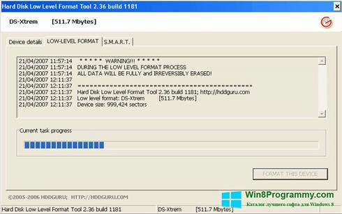 Скриншот программы HDD Low Level Format Tool для Windows 8