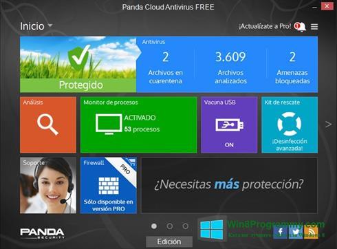 Скриншот программы Panda Cloud для Windows 8