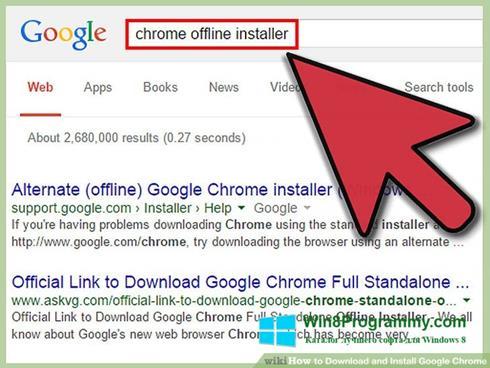 Скриншот программы Google Chrome Offline Installer для Windows 8