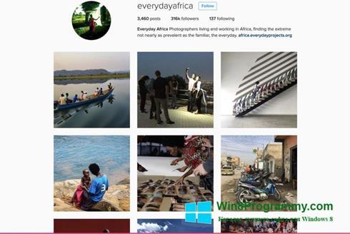 Скриншот программы Instagram для Windows 8