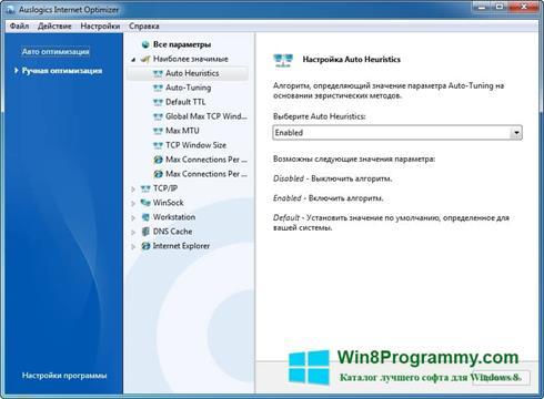 Скриншот программы Auslogics Internet Optimizer для Windows 8