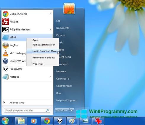 Скриншот программы ViStart для Windows 8