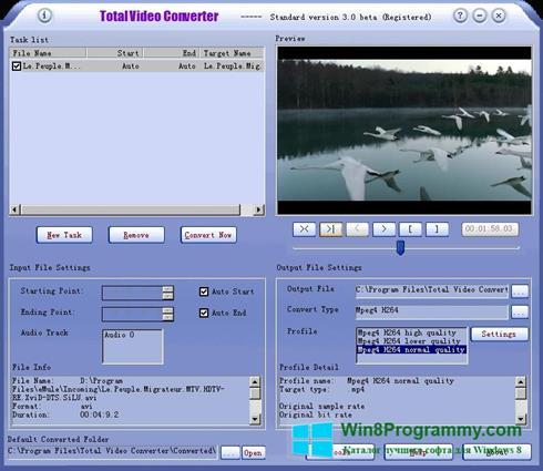 Скриншот программы Total Video Converter для Windows 8