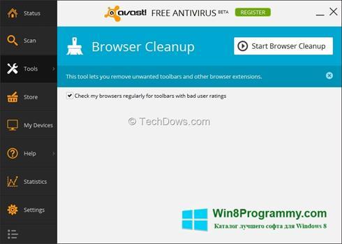 Скриншот программы Avast Browser Cleanup для Windows 8