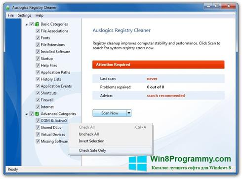 Скриншот программы Auslogics Registry Cleaner для Windows 8