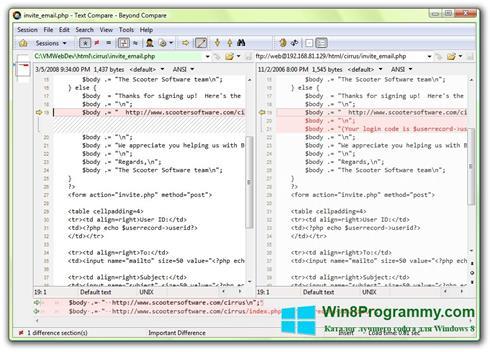 Скриншот программы Beyond Compare для Windows 8